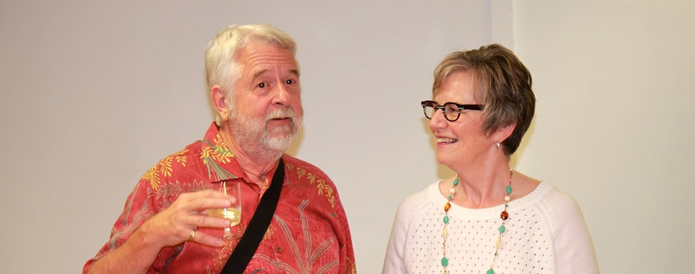 Andrew Innes raises a glass with Wendy Matthews